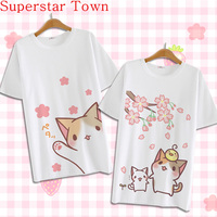 Japan Anime Neko Atsume Casual T Shirt Sweet Summer 2016 Blusa Short Sleeve Harajuku Shirt Cute