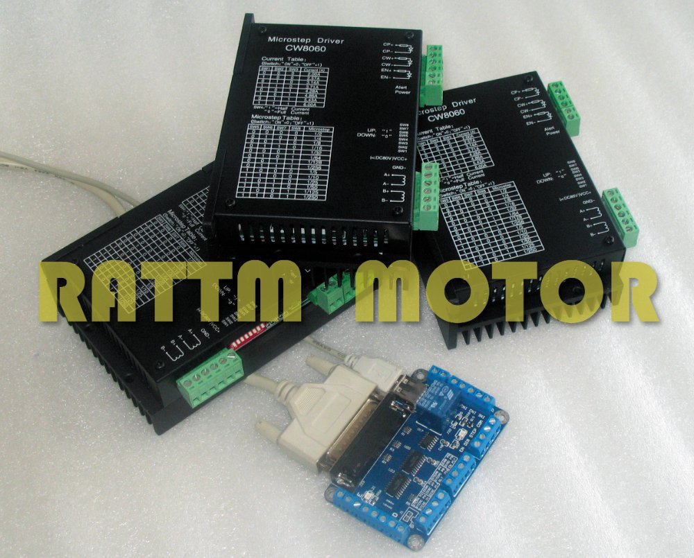 3 axis High Quality CNC Stepper Motor Driver Controller kit 80VDC/6A /256 Microstep for CNC Router Milling Machine cw8060 stepper motor driver 80vdc 6a 256 microstep for cnc router for nema23 34 stepper motor