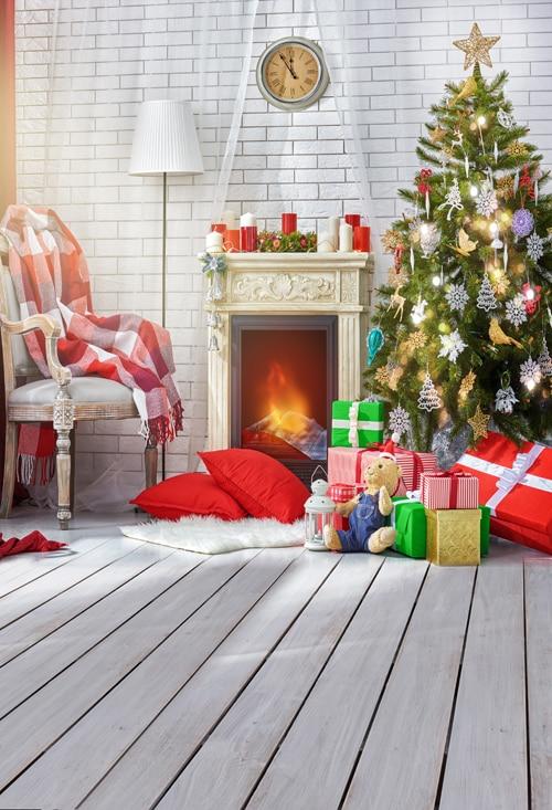christmas photography backdrops christmas fireplace tree