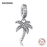 Authentic 925 Sterling Silver Sparkling Rõ Ràng Zircon Palm Tree Dangle Charm Fit pandora Bracelet Vòng Cổ DIY Đồ Trang Sức Cho Phụ N