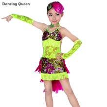 2016 Children Latin Dance Costumes For Girls 4pcs(Dress&Headwear&Necklace&Hand Cuff) Modern Dance Costumes For Kids Latin Girl