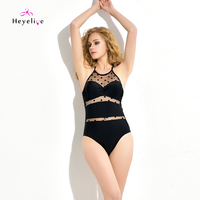Sexy Mesh Swimsuits Women 1 Piece Swimwear High Neck Polka Dot Swim Beach New Bathing Suits