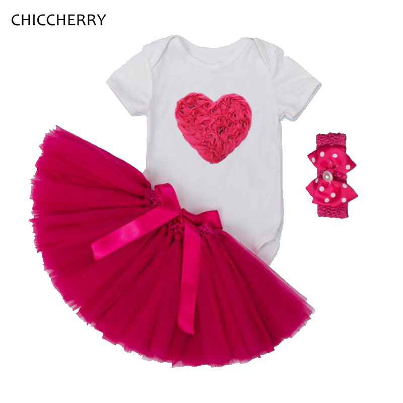 3d love valentine toddler outfits kids bodysuit lace skirt headband newborn baby girl clothes girls valentine outfit roupa bebe in clothing sets from mother - Girls Valentines Outfit