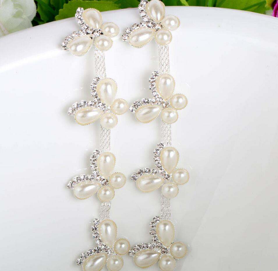 ᐃ1 Yard White Pearls Butterfly+Crystals Trim Ribbon For Sewing ...