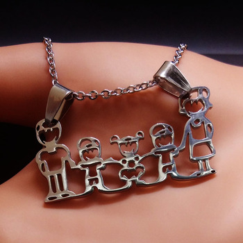 Unisex Family Necklace Jewelry Necklaces Women Jewelry Metal Color: 2 boy 1 girl