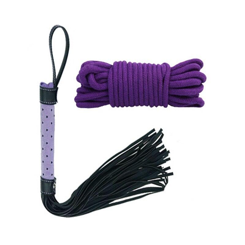 7 в 1 набор фиолетовый Связывание цепь Кнут с завязанными глазами секс игрушка удерживающая система Фетиш 35