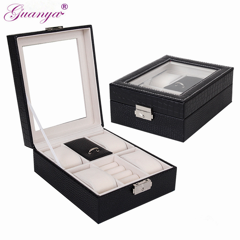 купить Guanya Luxury 6 Grid Leather Watch Box Jewelry Earings Ring Bracelet Display Collection Storage Case Watch Organizer Box Holder онлайн