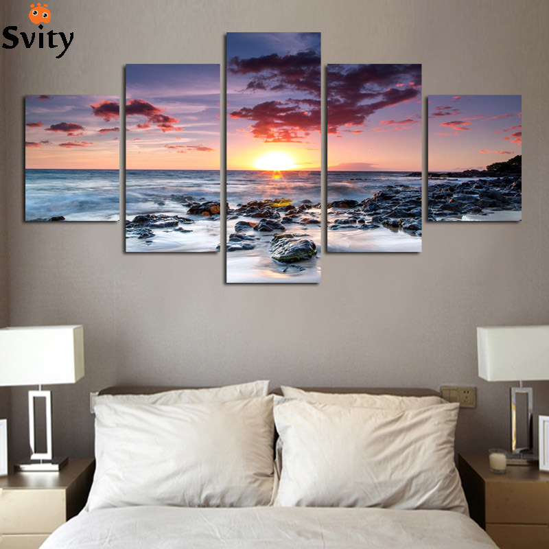 Modern Wall Art Home Decoration Printed Oil Painting 5 Piece No Frame pintura al oleo beautiful sunrise on the sea landscape ...