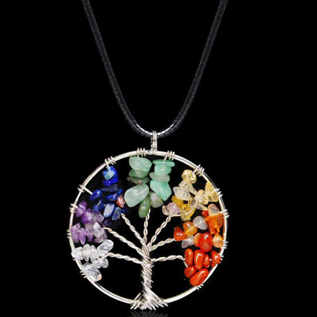 Collares Life Tree Quartz Chips Pendant Women Rainbow 7 Chakra  Crystals Multicolor For Wisdom Natural Stone Necklace