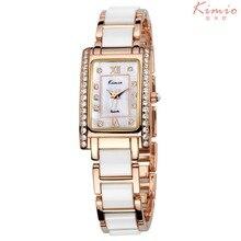 KIMIO 2016 Reloj Mujer Damas de Imitación Cerámica Pulsera Reloj Mujeres Moda Rhinestone Vestido Reloj de Cuarzo Montre Femme