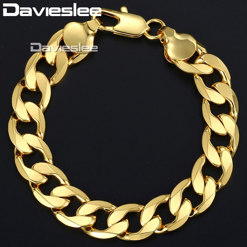 Davieslee Men's Gold Bracelets Women Gold Filled Bracelet Hip Hop Curb Cuban Chain 12mm 20cm 23cm DLGB196