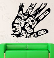 Game Play Room Vinyl Wall Decal Creative Hand Video Games Gamer Xbox Playstation Mural Wall Sticker Kids Bedroom Home Decoration