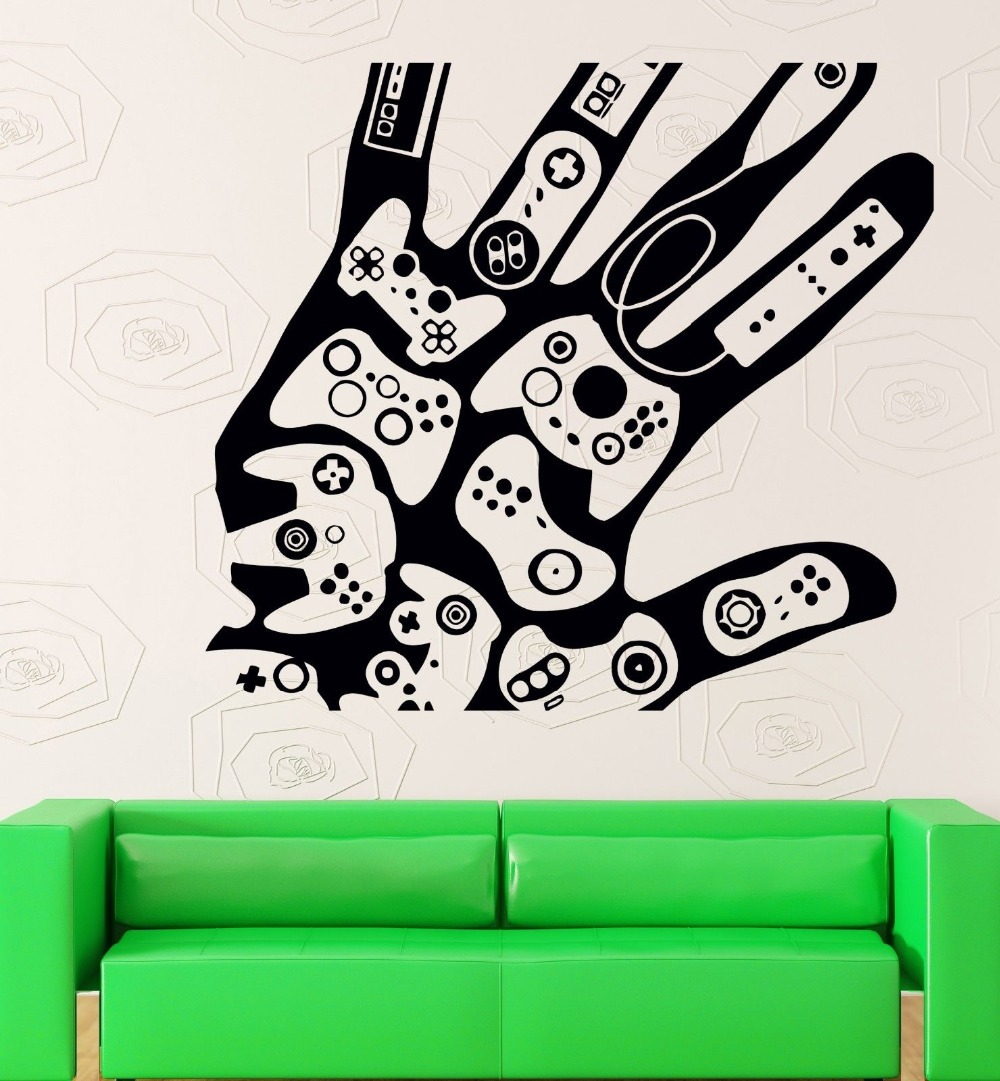 Game Play Room Vinyl Wall Decal Creative Hand Video Games