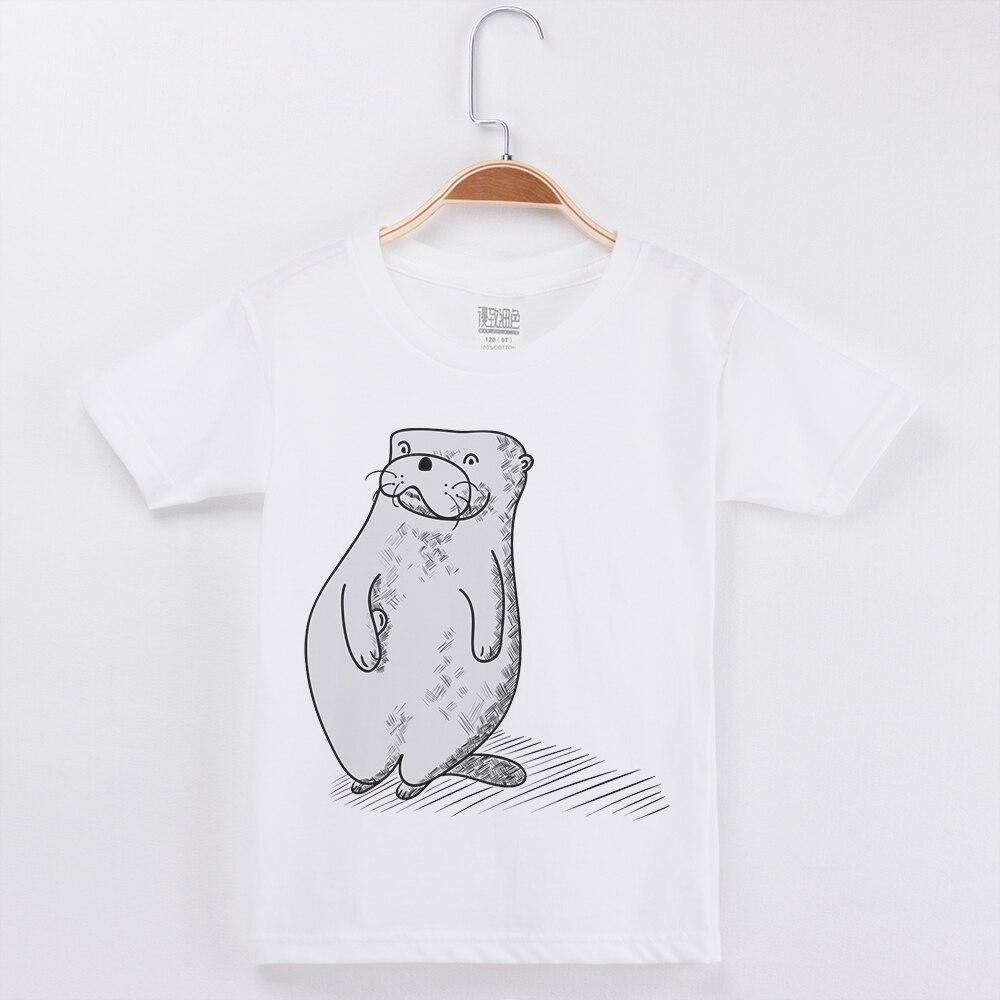 Nouveauté enfants vêtements blanc t-shirt enfant chemises garçon mode coton o-cou enfant t-shirt sceau impression hauts populaires t-shirts