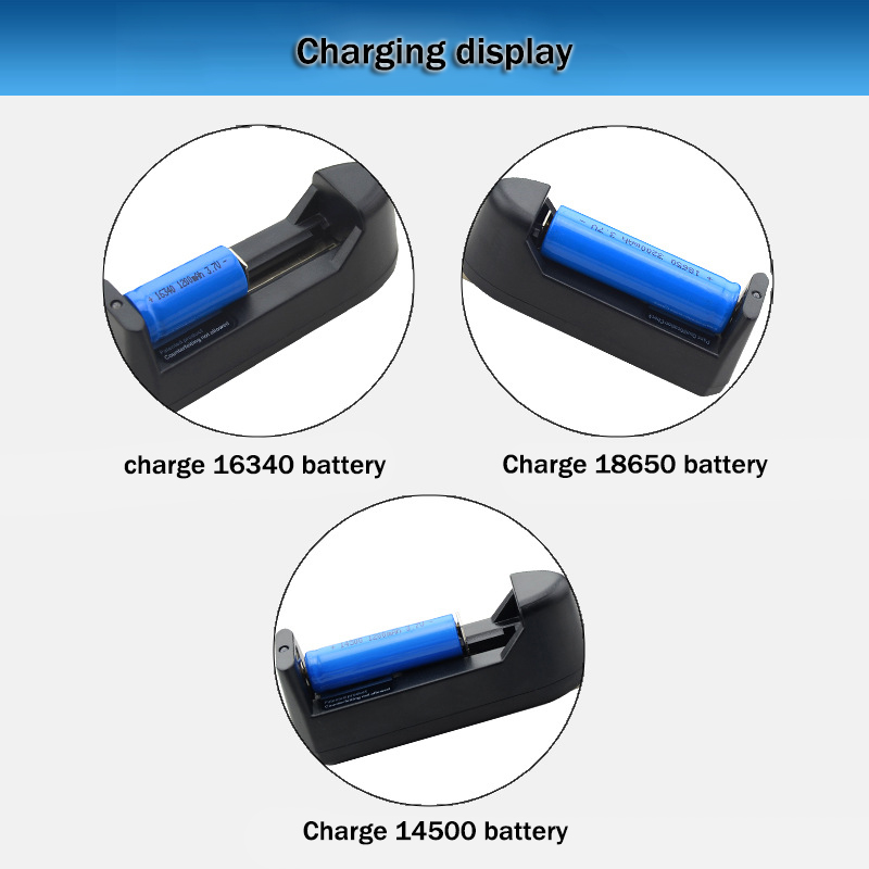WAMA 16340 14500 CR123A 18650 3.7V Charger Universal AC US EU Plug Smart Adapter Rechargeable for Li-ion Battery Flat Round pins