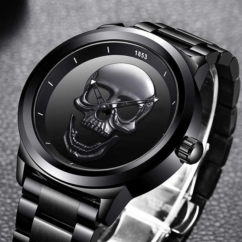 Men 3D Skull Watch LIGE Top Brand Quartz Stainless Steel Watchs Men Fashion Business Waterproof Creative Clock Relogio masculino