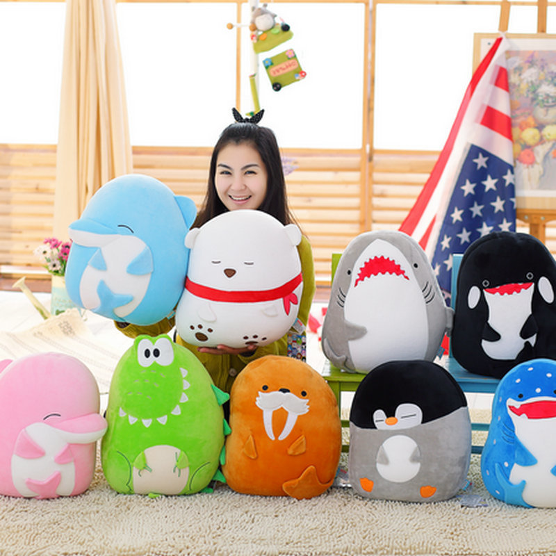 New Item 40cm High Quality Sea Animals Pillow Cushion Stuffed Nanoparticle Doll Dolphin polar bear Shark doll birthday gift mr froger carcharodon megalodon model giant tooth shark sphyrna aquatic creatures wild animals zoo modeling plastic sea lift toy