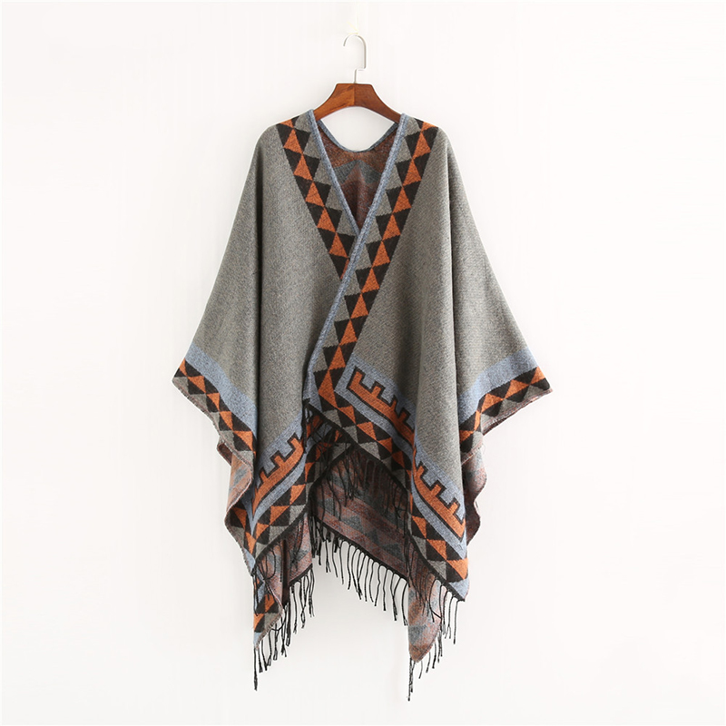 Image 4 - Mingjiebihuo New European and American style fashion geometric color imitation comfortable temperament warm poncho shawl scarf-in Women's Scarves from Apparel Accessories on AliExpress