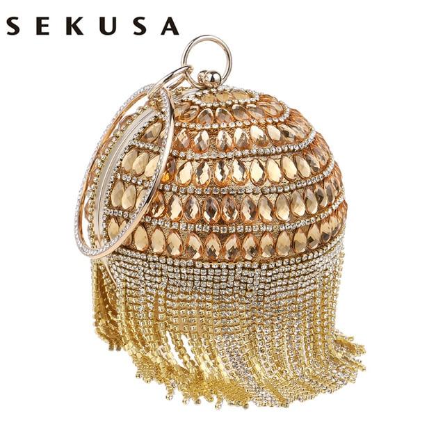 SEKUSA Circular Women Clutch Tassel Rhinestones Evening Bags Acrylic Beaded Chain Shoulder Purse Evening Bags For Party Wedding