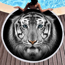 3D Tiger Round Beach Towel Animal Bath Microfiber Fabric 150cm Size