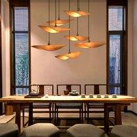 Nouveau chinois bambou lustre lumières japonais Tatami Teahouse Zen  suspension lampe sud est asiatique salon chambre tréteau