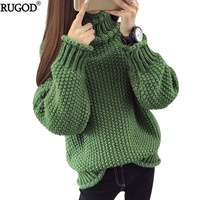 RUGOD Hot Sale Women's Turtleneck Long Sleeve Sweater Women Solid Women Pullover Knitted Winter 2018 jersey mujer invierno