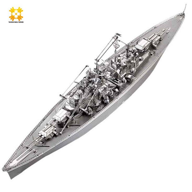 New 3D Metal Puzzle Bismarck Battleship Warship P084-S DIY 3D Laser Cut Assemble Models Toys For Audit led 3d puzzle toys l503h empire state building models cubicfun diy puzzle 3d toy models handmade paper puzzles for children