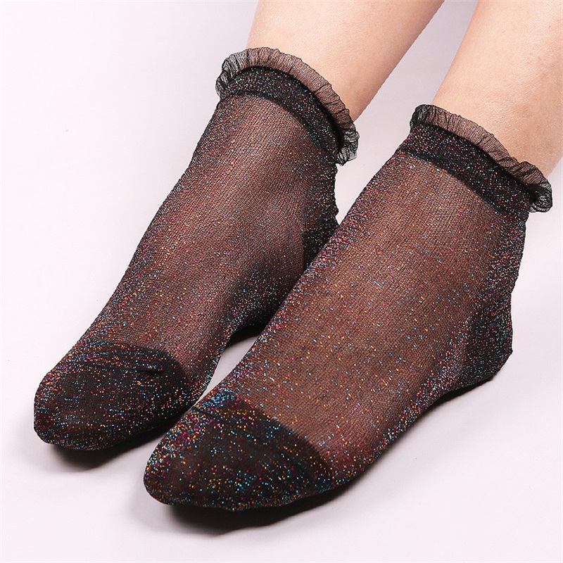 10 Pairs/Lot Fashion Shinny Silk Lace Socks for Women Summer Ultrathin Transparent Short ...