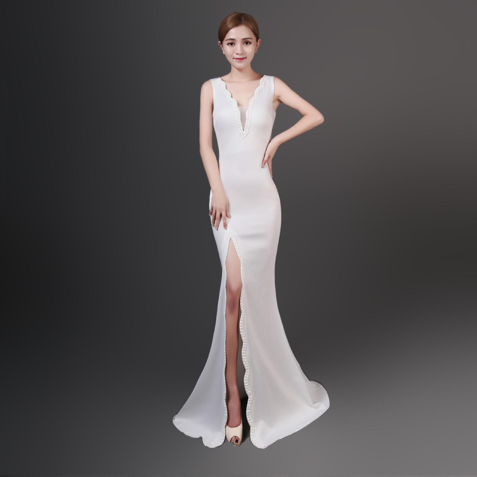 52d5a74c64 Blanco diamantes cuello V profunda sin mangas abierto dividido Formal  elegante mujer celebridad vestido de fiesta