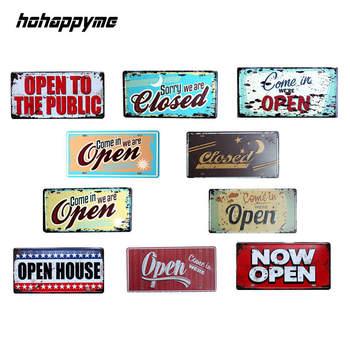 99fe8de82f7c Hohappyme abrir letreros cerrados apertura horas tienda abrir placas de  Metal decorativo Placa de Bar decoración del hogar 15x30 cm
