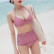 Sexy Plaid Printed Female Bikini For Beach Bandage Cross Lace Up Swimsuit Girls Two Piece Halter High Waisted Swimwear Women