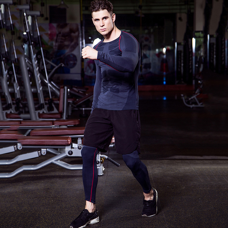 Image 4 - Yuerlian Quick Dry 3 pcs Compression Tights Tracksuit Men Train Fitness Long Sleeve Shirt Pant O Neck Gym Running Sport Suit-in Running Sets from Sports & Entertainment on AliExpress