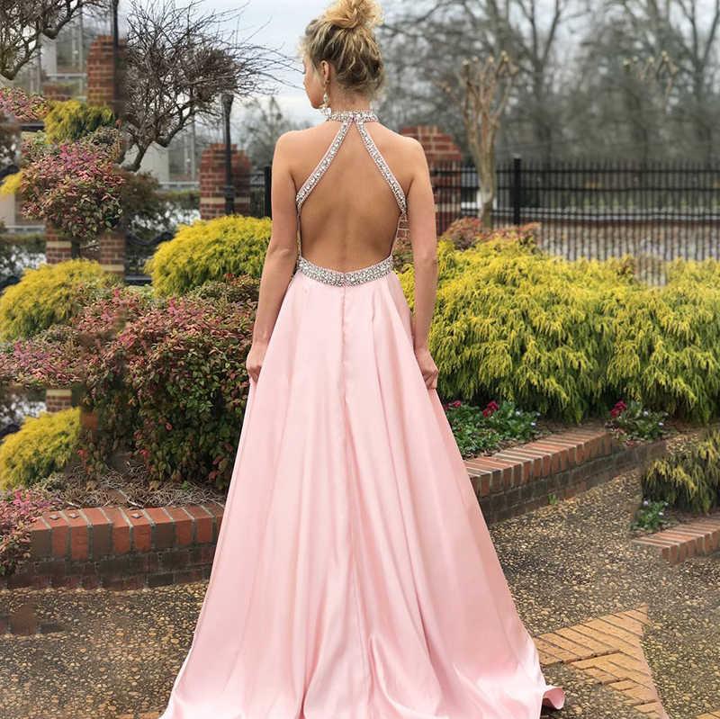 Элегантные розовые атласные платья для выпускного вечера с бретелькой через шею, украшенные кристаллами и бисером, Длинные вечерние платья с открытой спиной, летние платья макси
