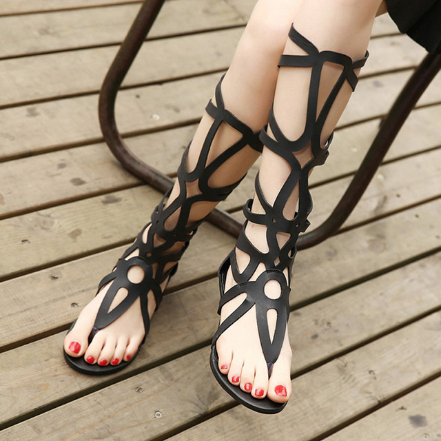 Summer Style Knee High Sandals Shoes Woman 2018 Fashion Women Boots Sandal Shoes Woman Sexy Summer Women Shoes Gladiator Sandals 2