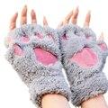 WANAYOU Дамы Зимние Перчатки Без Пальцев, Пушистый Медведь Cat Плюшевые Лапы Коготь Половиной Палец Перчатки, Половина Крышки Женщины Женщина перчатки Варежки