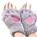 WANAYOU Ladies Winter Fingerless Gloves,Fluffy Bear Cat Plush Paw Claw Half Finger Glove,Half Cover Women Female Gloves Mitten