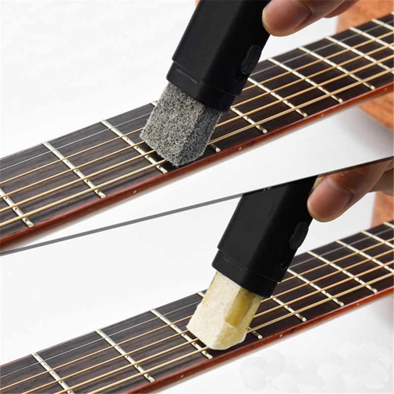 Guitarra Bajo Cuerdas Diapasón Cleaner Limpieza De Óxido Eliminar Pincel con Esm