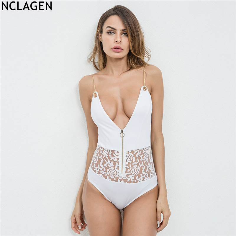NCLAGEN 2018 New Women Spring Summer Sexy V Neck Chain Zipper Rompers Slim Fit Perspective Lace Floral Sleeveless White Bodysuit ...