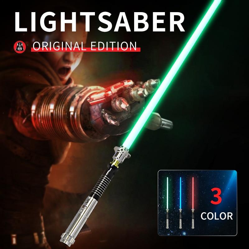Sabre Laser Cosplay avec son lumineux Led rouge vert bleu sabre Laser Upgrad sabre Laser lumineux éclairer Luke cadeau jouets cadeau