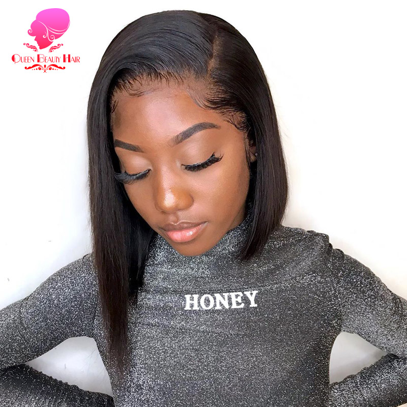 QUEEN 13x6 Short Bob Lace Front Human Hair Wigs Brazilian Straight Remy 1B 613 Ombre Blonde