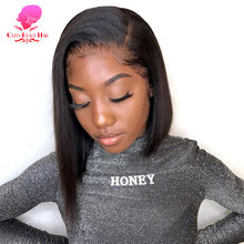 QUEEN 13x6 Short Bob Lace Front Human Hair Wigs Brazilian Straight Remy 1B 613 Ombre Blonde Bob Lace Front Wigs for Black Women(China)