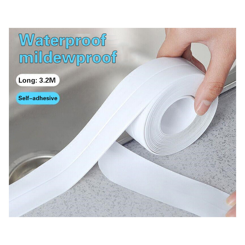 1PC Bathroom Shower Sink Bath 3.2Mx38mm Sealing Strip Tape White PVC Self-adhesive Waterproof Wall Sticker for Bathroom Kitchen1PC Bathroom Shower Sink Bath 3.2Mx38mm Sealing Strip Tape White PVC Self-adhesive Waterproof Wall Sticker for Bathroom Kitchen