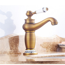 Vintage Antique Brass Faucet Stream Spout Tap Bathroom Basin Sink Solid Hot & Cold Water Mixer Vanity 2019