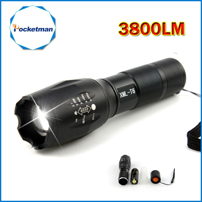 Pocketman T6 3800 Lumens LED Torch Tactical Linterna LED Flashlight Lampe Torche Torch Light Zoomable for AA 18650 Camping newest 100% authentic 3800 lumens 5 mode xm l t6 led flashlight zoomable rechargeable focus torch by 1 18650 or 3 aaa