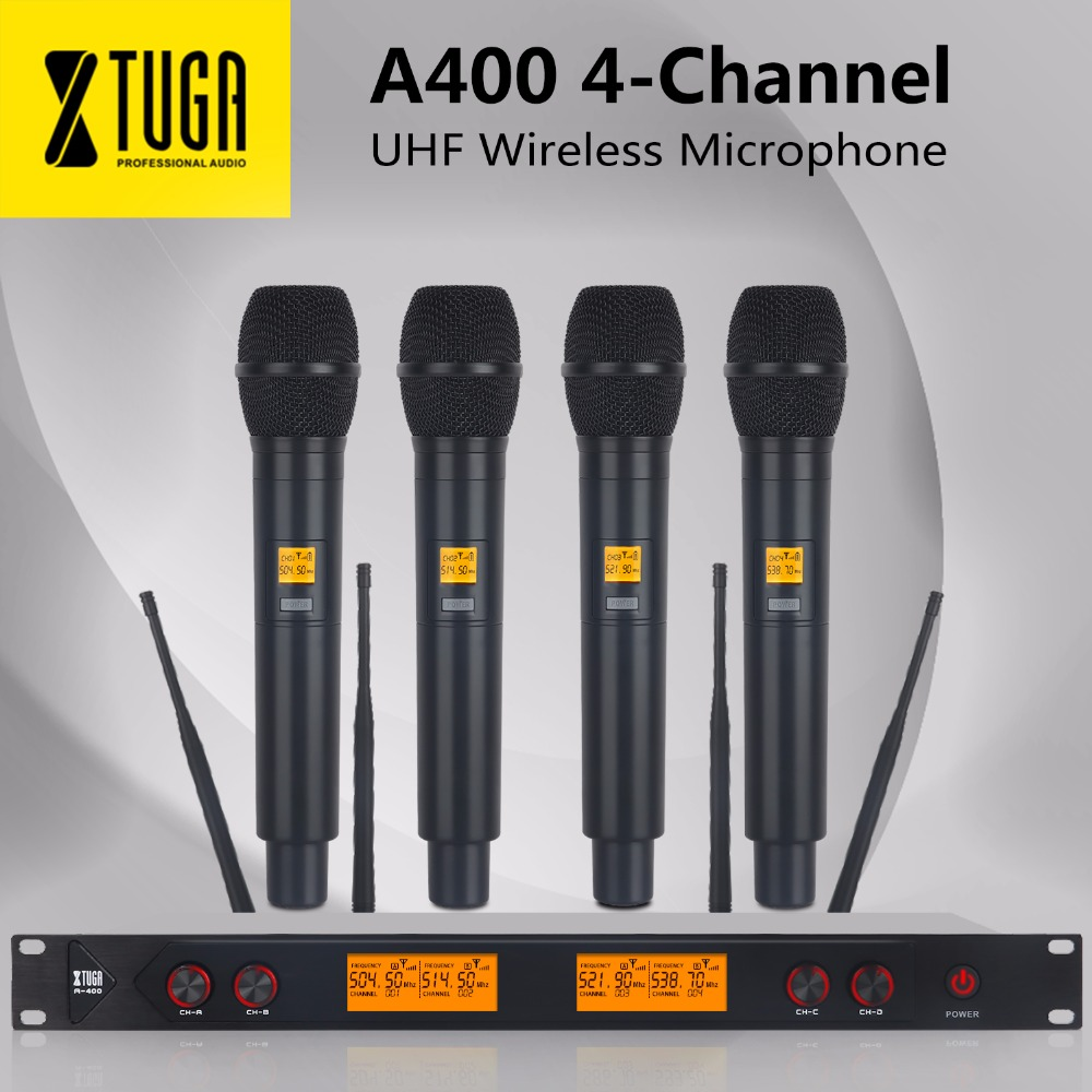 XTUGA A-400 Metal Material 4-Channel UHF Wireless Microphone System With 4 Hand-held For Stage Church Family Party Small Karaoke
