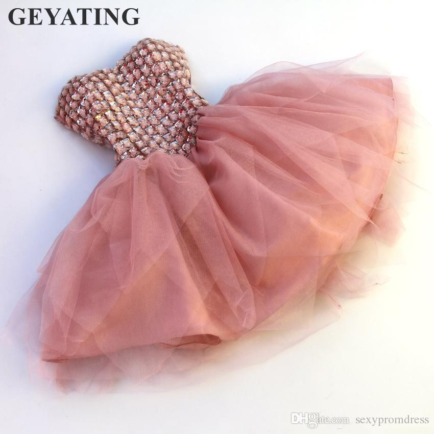 Sexy Dusty Pink Crystal Tulle Short Cocktail Dresses 2020 Sweetheart Mini Red Homecoming Party Dress Prom Gowns Robe De Cocktail