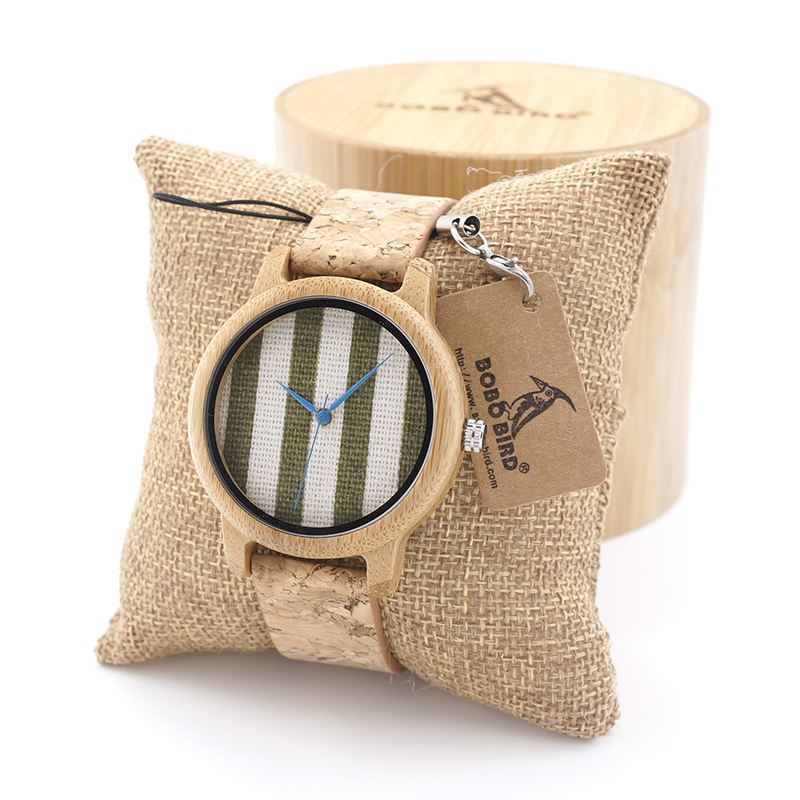 BOBOBIRD New arrival Vintage Round Ladies Bamboo Wood Quartz Watches With Fabric Dial Women Watches Top