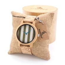 BOBOBIRD Recién llegado de Cosecha Ronda Dial Relojes de Las Mujeres Señoras Relojes de Cuarzo De Madera De Bambú Con Tejido Superior Marca de Relojes de Lujo