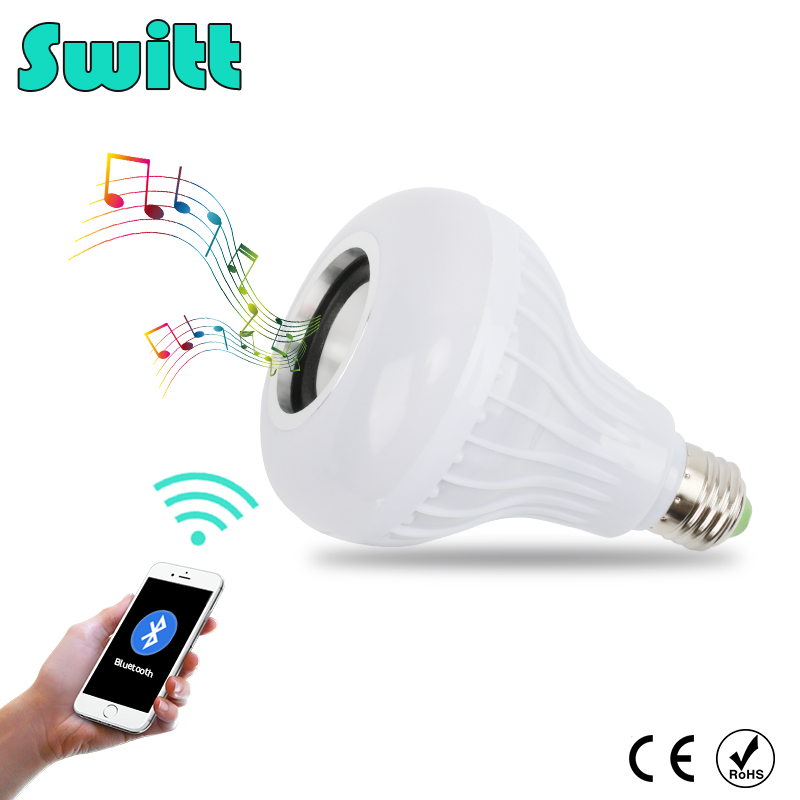 Switt E27 Smart LED Lamp Wireless RGB Bulb Bluetooth Lampada Speaker Lamparas RC Ampoule 85V-265V Bombillas Light Music Playing szyoumy e27 rgbw led light bulb bluetooth speaker 4 0 smart lighting lamp for home decoration lampada led music playing