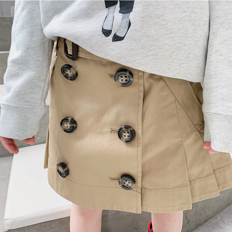 90-150cm Autumn New Double Breasted Buttons Skirts For Girls 100% Cotton Khaki A-Line Skirt 2Y-10Y